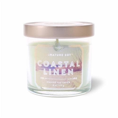 Signature Soy Coastal Linen Candle Perspective: front