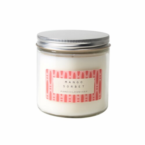 Pure.Clean.Soy Mango Sorbet Clear Jar Candle - Ivory Perspective: front