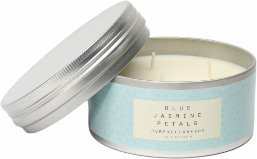 Pure Clean Soy Blue Jasmine Petals Tin Candle Perspective: front