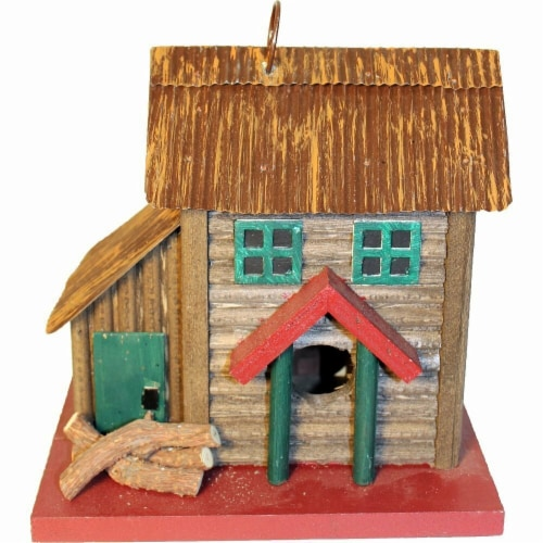 Songbird Essentials SE988 Two-Story Cabin Birdhouse Perspective: front