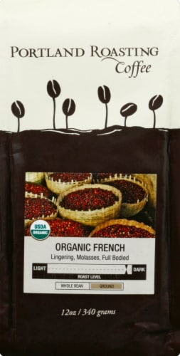 Portland Roasting Coffee Ground Organic French Roast Coffee Perspective: front