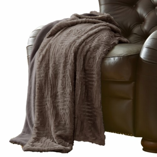 Treviso Faux Fur Throw with Fret Pattern The Urban Port, Gray, Saltoro Sherpi Perspective: front