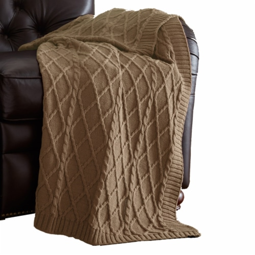 Creuse Cable Knitted Cotton Throw with Diamond Pattern The Urban Port, Brown, Saltoro Sherpi Perspective: front