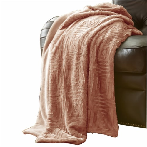 Treviso Faux Fur Throw with Fret Pattern The Urban Port, Pink, Saltoro Sherpi Perspective: front
