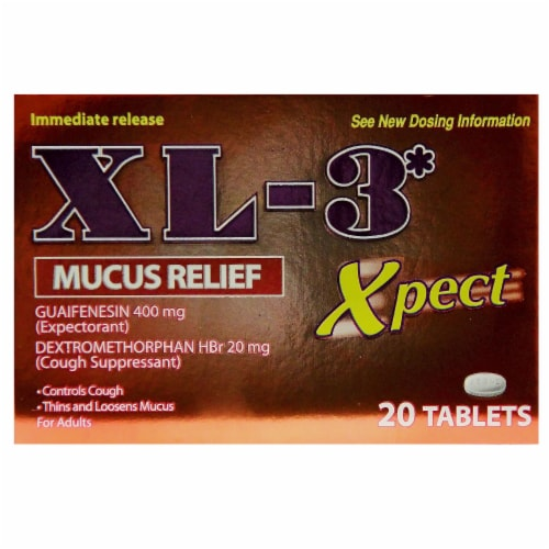 XL-3 Xpect Mucus Relief Immediate Release Tablets Perspective: front