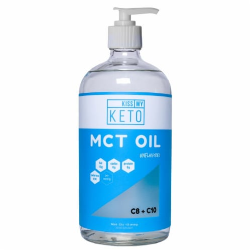 Kiss My Keto  MCT Oil 100% Coconut - C8 + C10   Unflavored Perspective: front