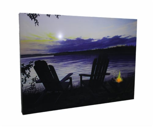 Lighted Canvas Otter Way Fish Shore by Cherie Serrano Perspective: front