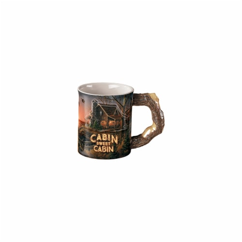 Wild Wings Brown & Blue Sculpted Mug, Cabin Sweet Cabin Perspective: front