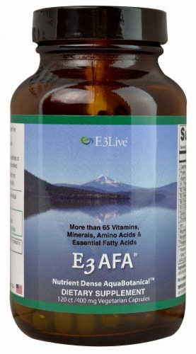 E3Live E3AFA Dietary Supplement Capsules 400mg Perspective: front