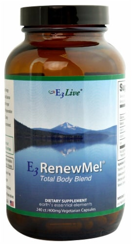 E3Live E3RenewMe! Total Body Blend Supplement Capsules 400mg Perspective: front