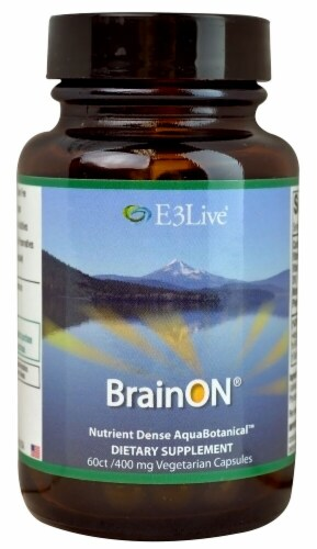 E3Live BrainON Dietary Supplement Capsules 400mg Perspective: front