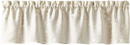 Curtain Works Lynne Embroidered Window Valance - Linen Perspective: front