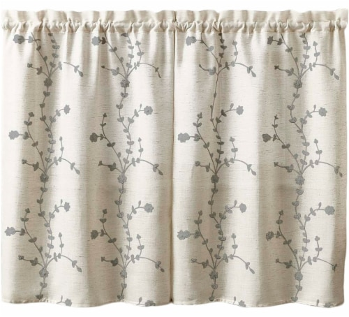 Curtain Works Lynne Embroidered Window Tier - 2 pk - Gray Perspective: front