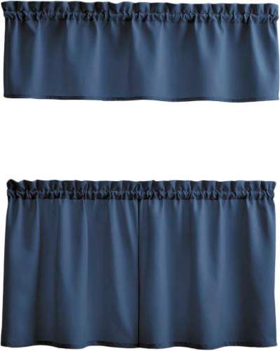 Curtain Works Solid Window Valance and Tier Set - 3 Piece - Navy Perspective: front