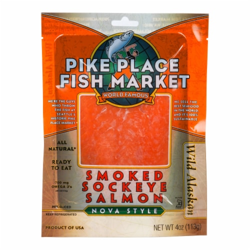 Pike Pier Fisherman Smoked Sockeye Salmon Perspective: front