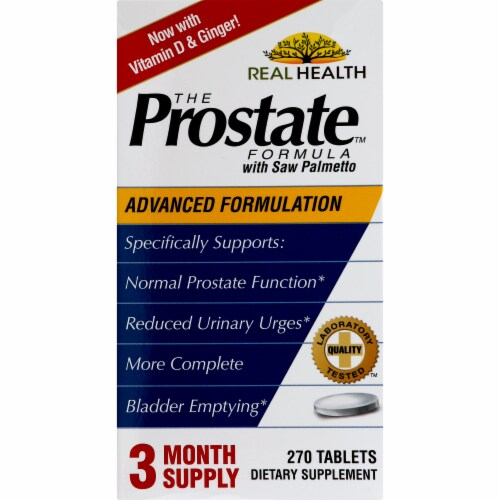 Real Health Prostate Formula with Saw Palmetto Tablets Perspective: front