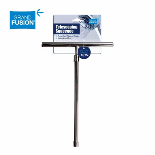 Grand Fusion Stainless Steel Shower Squeegee with Telescoping Handle Perspective: front