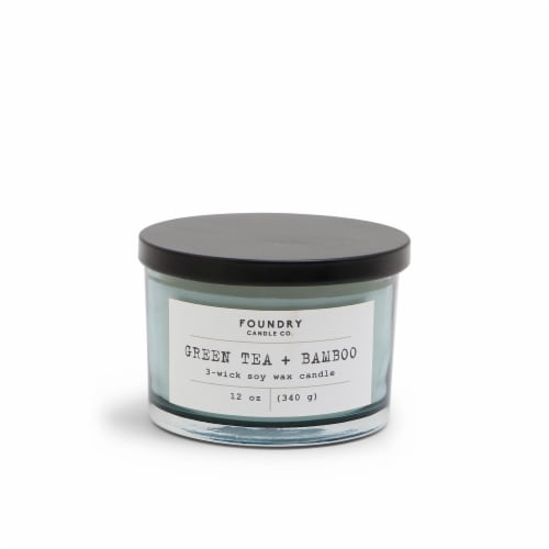 Foundry Candle Co. Scented Candle - Typewriter Green Tea + Bamboo Perspective: front