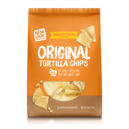 Garden Fresh Gourmet Original White Corn Tortilla Chips Perspective: front