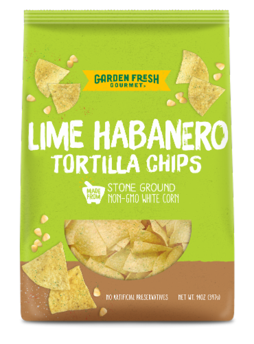 Garden Fresh Gourmet Lime Habanero Tortilla Chips Perspective: front