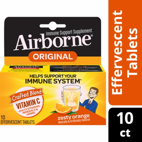 Airborne Zesty Orange Vitamin C 1000mg Immune Support Supplement Effervescent Tablets Perspective: front