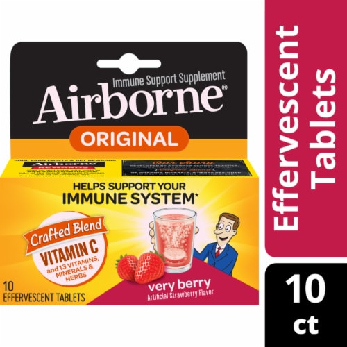Airborne Very Berry Vitamin C Immune Support Supplement Effervescent Tablets 1000mg Perspective: front