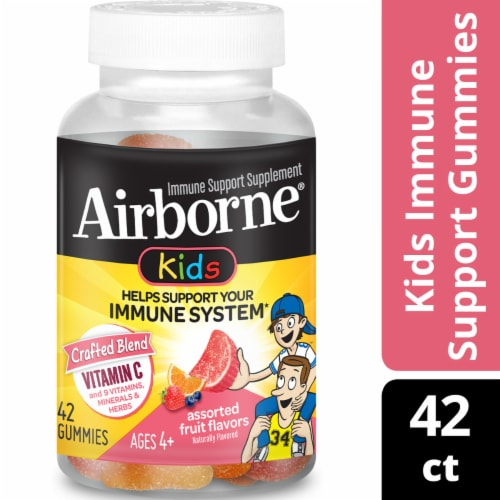 Airborne Kids Assorted Fruit Vitamin C Immune Support Supplement Gummmies 500mg Perspective: front