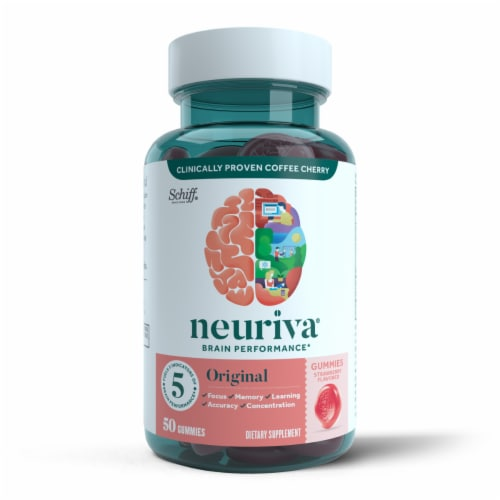 Neuriva Brain Performance Original Strawberry Flavored Gummies Perspective: front