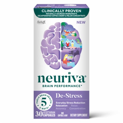 Neuriva De-Stress Brain Performance Supplement Vegetarian Capsules 30 Count Perspective: front