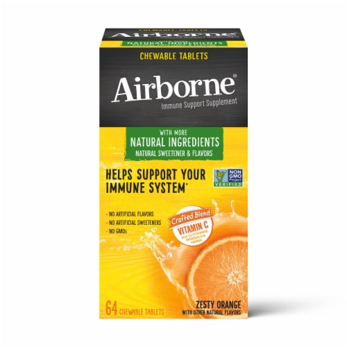 Airborne Immune Support Supplement Zesty Orange Chewable Tablets Perspective: front
