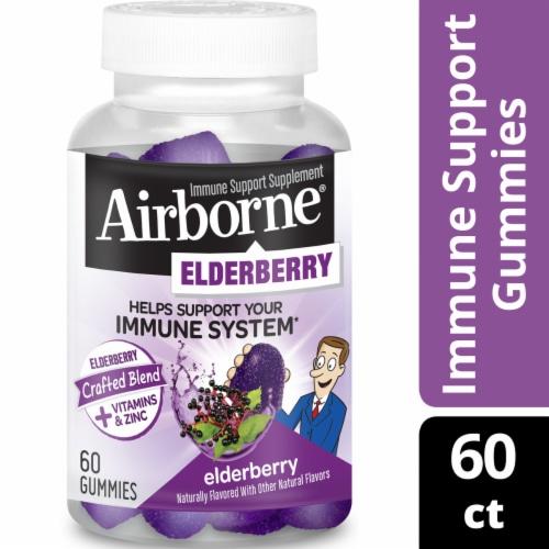 Airborne Elderberry Vitamin C D & E Immune Support Supplement Gummies Perspective: front