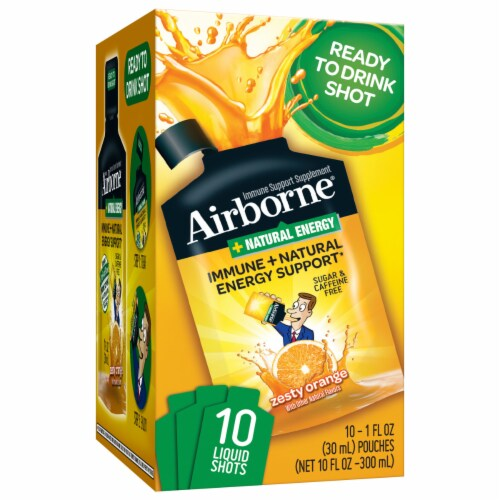 Airborne Immune & Natural Energy Support Liquid Shot 10 Count Perspective: front