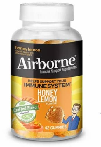 Airborne Honey Lemon Immune Support Supplement Gummies Perspective: front