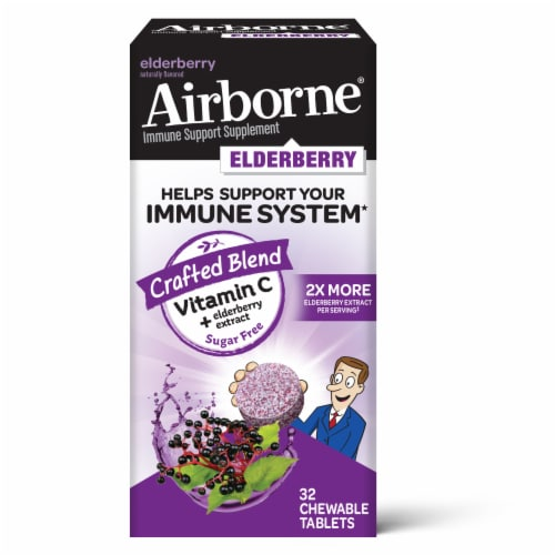 Airborne Elderberry Extract + Vitamin C Chewable Supplement Tablets Perspective: front