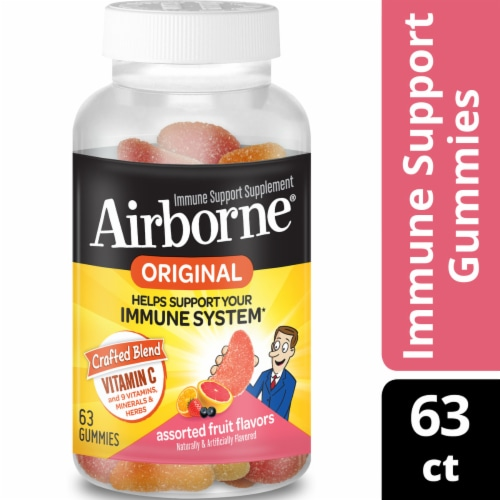 Airborne Assorted Fruit Vitamin C Immune Support Supplement Gummies 750mg Perspective: front