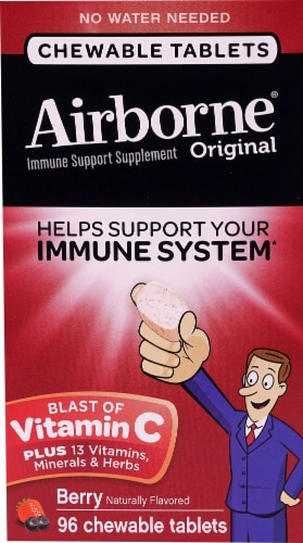 Airborne Original Berry Flavored Immune Support Supplement Chewable Tablets Perspective: front