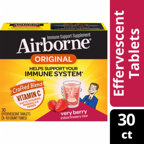 Airborn Original Very Berry Immune Support Supplement Effervescent Tablets Perspective: front