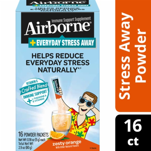 Airborne Everyday Stress Away Zesty Orange Powder Packets Perspective: front