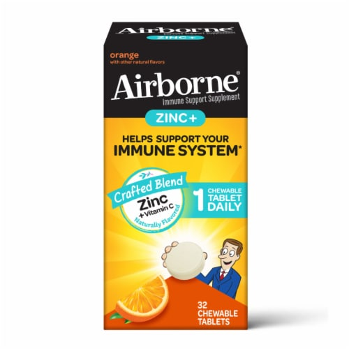 Airborne Orange Zinc + Vitamin C Immune Support Chewable Tablets Perspective: front
