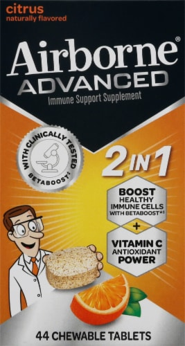 Airborne Zesty Orangen Advanced Immune Support 2-in-1 Chewable Tablets Perspective: front