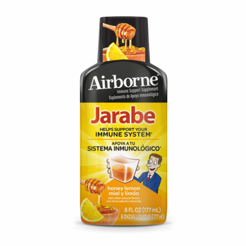 Airborne Honey Lemon Liquid Jarabe Perspective: front
