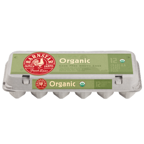 Barnstar Organic Cage Free Grade AA Large Brown Eggs Perspective: front