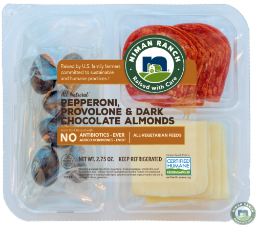 Niman Ranch Pepperoni Provolone & Dark Chocolate Almonds Perspective: front