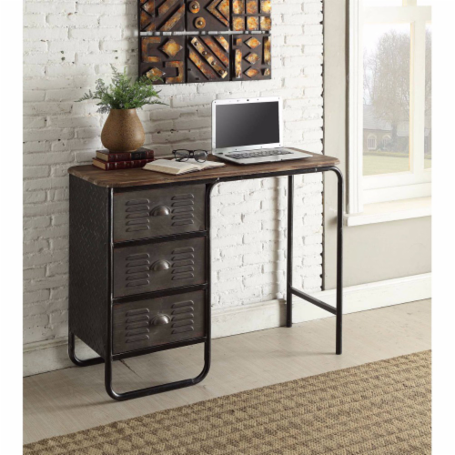 4D Concepts Urban Loft Locker 3 Drawer Metal Writing Desk in Black and Gray Perspective: front
