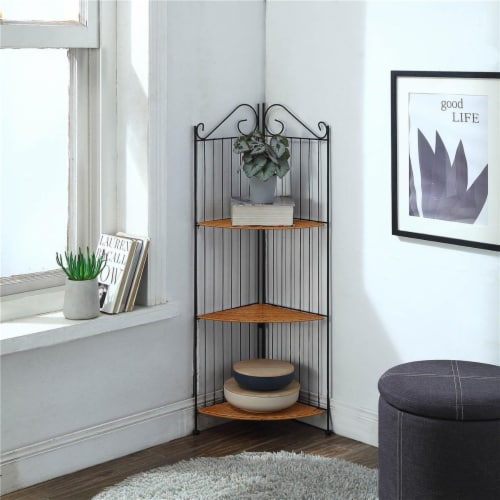 4D Concepts Corona 3 Shelf Metal Corner Bookcase in Honey and Black Perspective: front