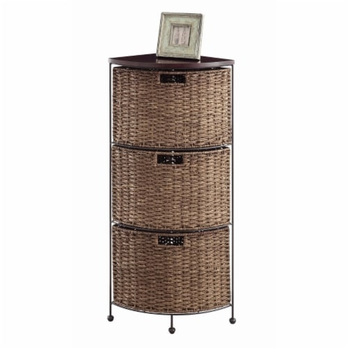 4D Concepts Farmington 3 Drawer Wicker Corner Accent Chest in Brown and Black Perspective: front