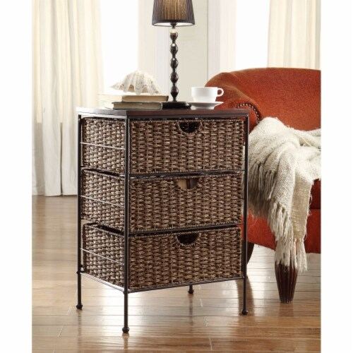 Farmington 3 Drawer Check with Wood top, Maize Weave and Metal Perspective: front