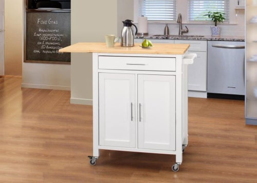 Vermont Kitchen Cart/Wht w/ Natural Top Perspective: front