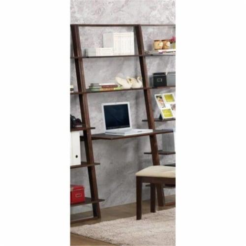 4D Concepts Arlington 2 Shelf Wooden Wall Desk in Dark Cappuccino Perspective: front