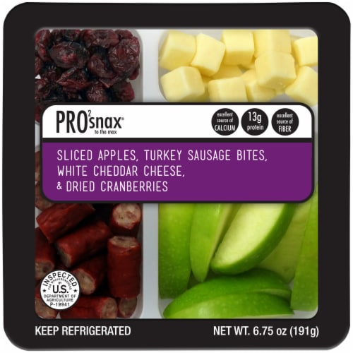 Pro2snax Sliced Apples Turkey Sausage Bites White Cheddar Cheese Dried Cranberries Snack Pack Perspective: front